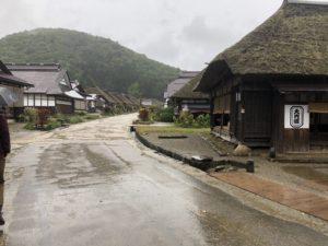 大内宿は雨〜